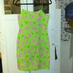 Lilly Pulitzer Green Pink Umbrella Dress